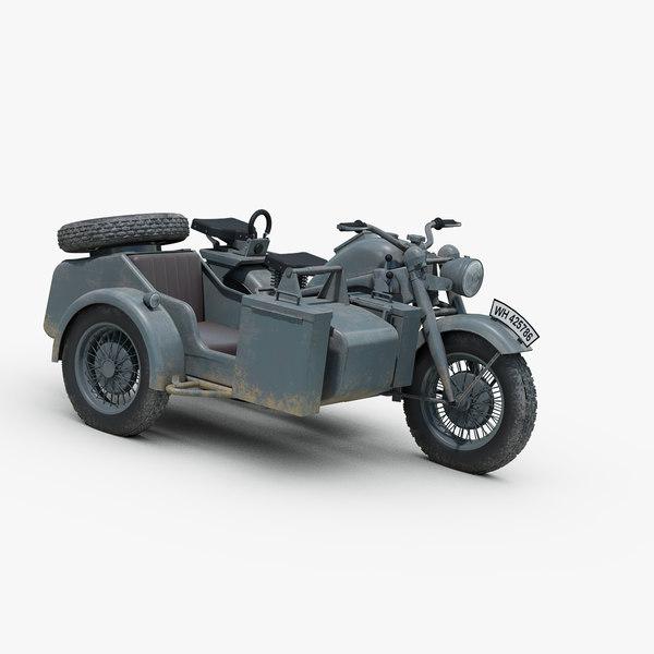 3d model ww2 german zundapp ks