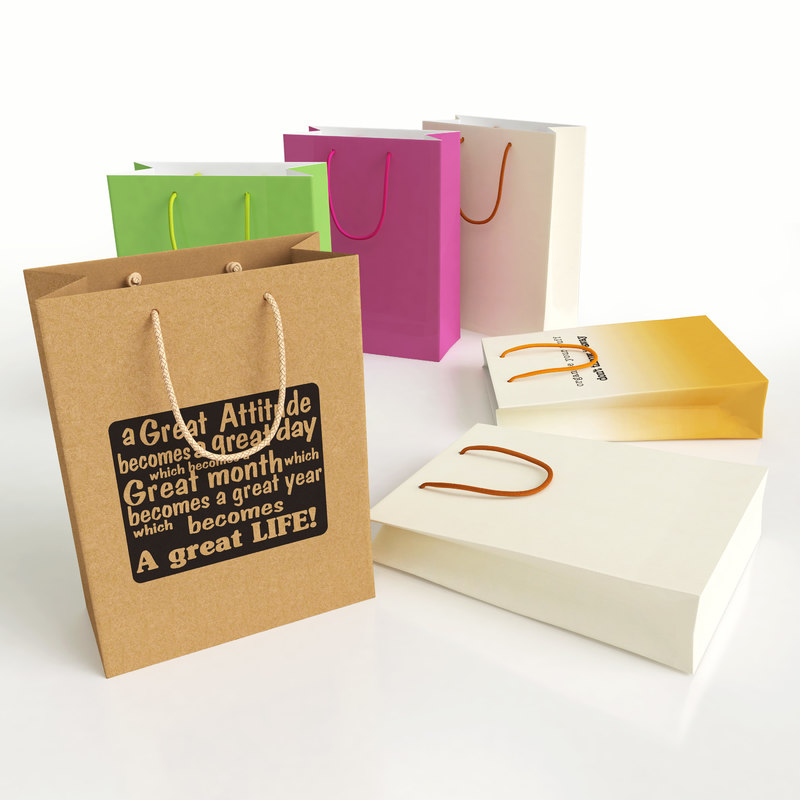 shopping bag gift colors 3d model