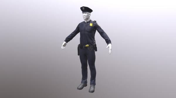 police uniform obj