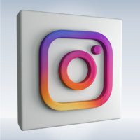 3d model social icon instagram