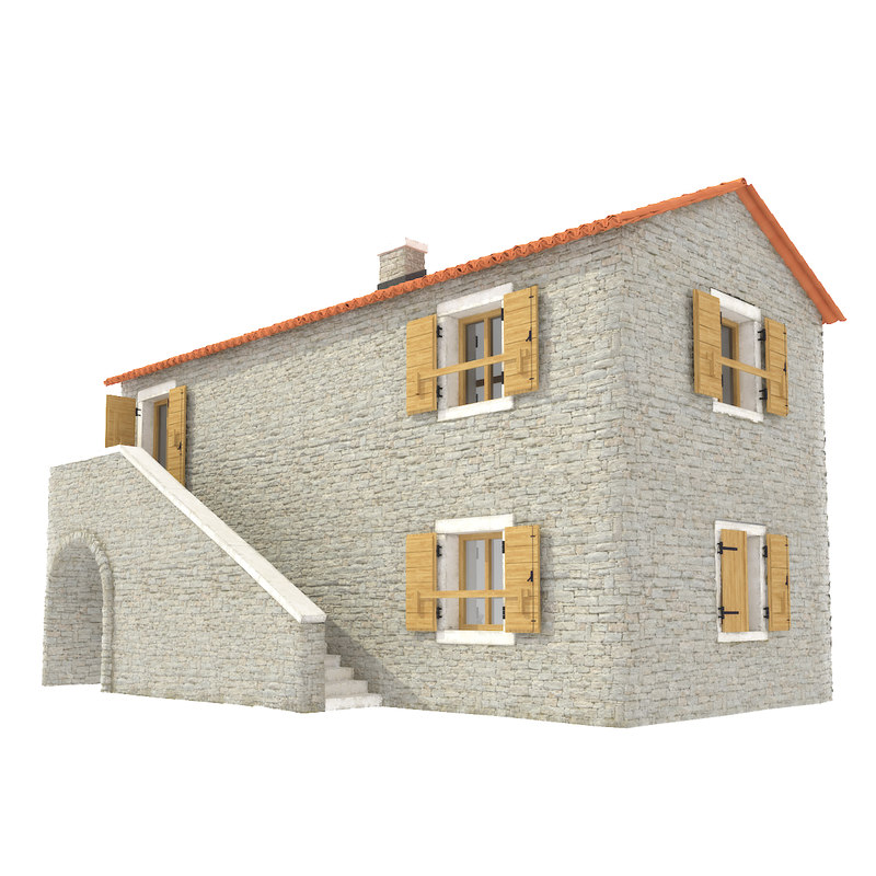 stacked stone house 3d model