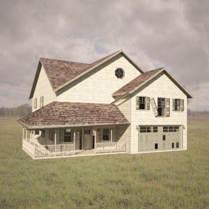 3d model of abandoned farmhouse