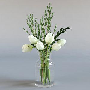 white tulips eucalyptus 3d model
