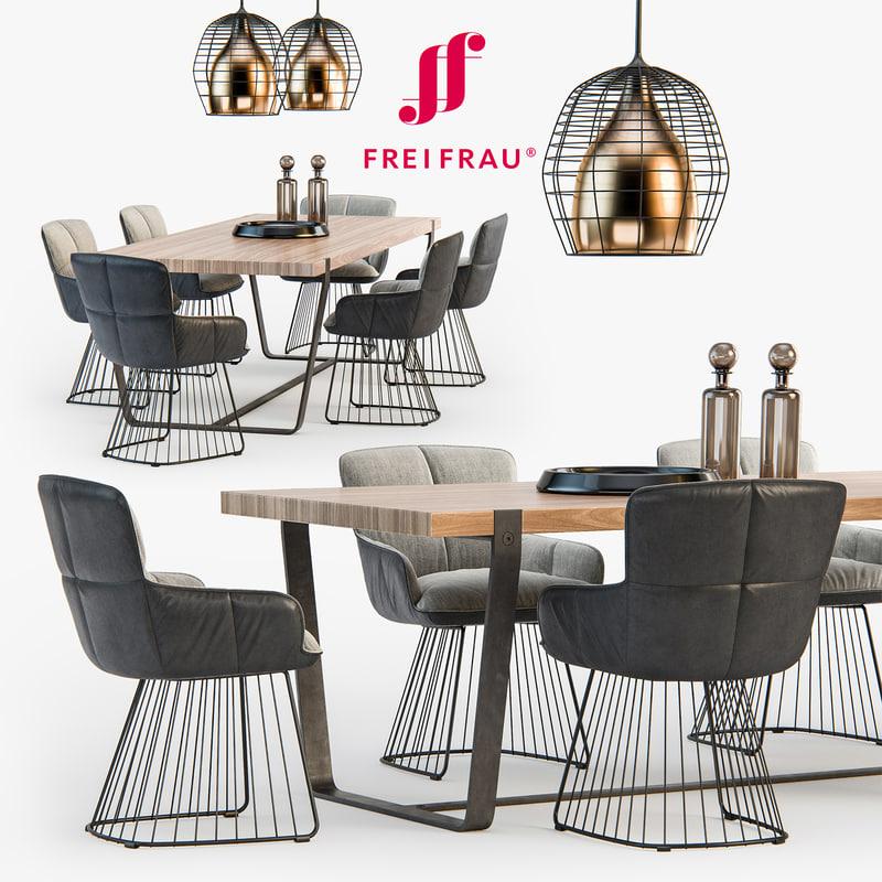 freifrau dining set 01 3d model