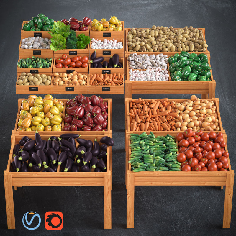 3d fresh vegetables model