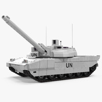 Tank AMX-56 Leclerc United Nations Rigged 3D Model