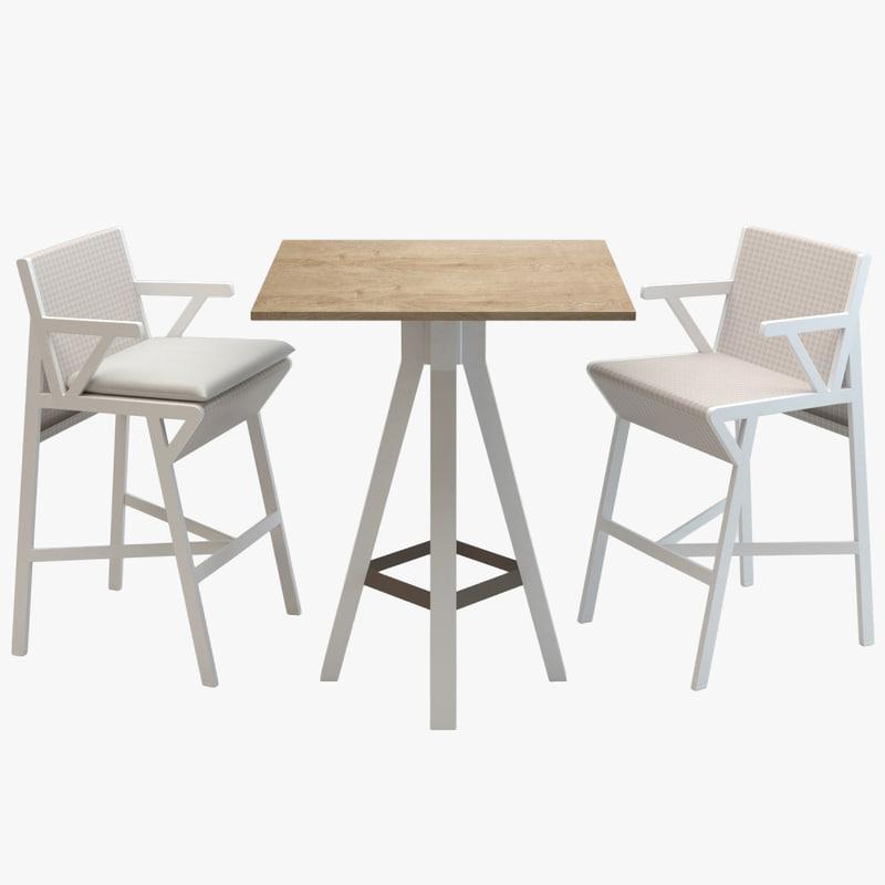 3d kettal vieques bar table