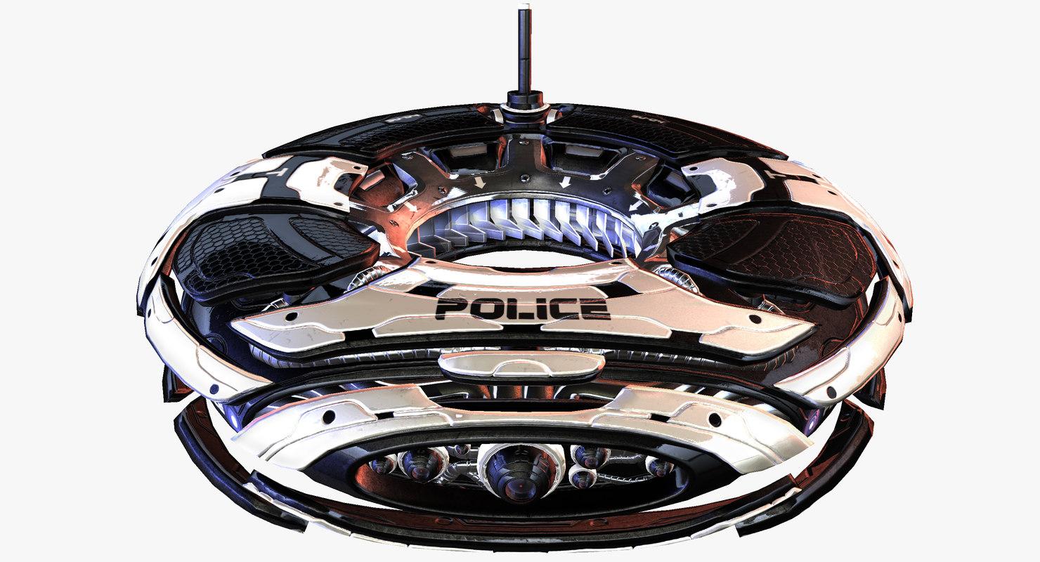 sci-fi police survailance drone 3d model