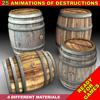 3d model wooden barrel animations