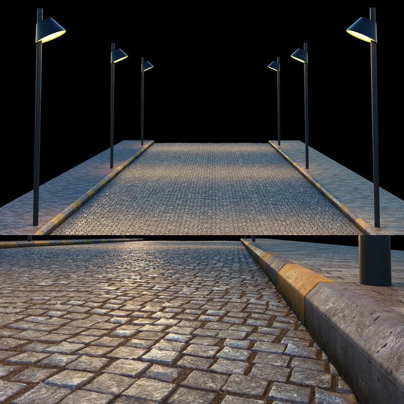 3d model pavement sidewalk
