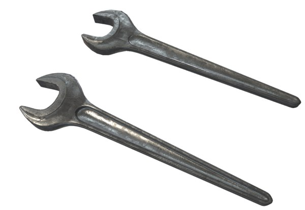3d model single open ended spanner