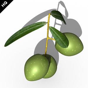 3d olives branch model