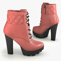 3d model suede ankle boot
