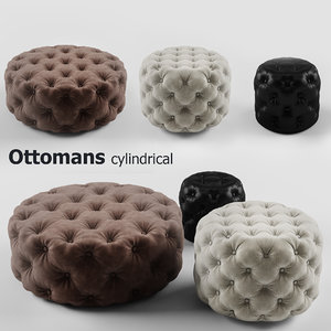 cylindrical set ottomans 3d model