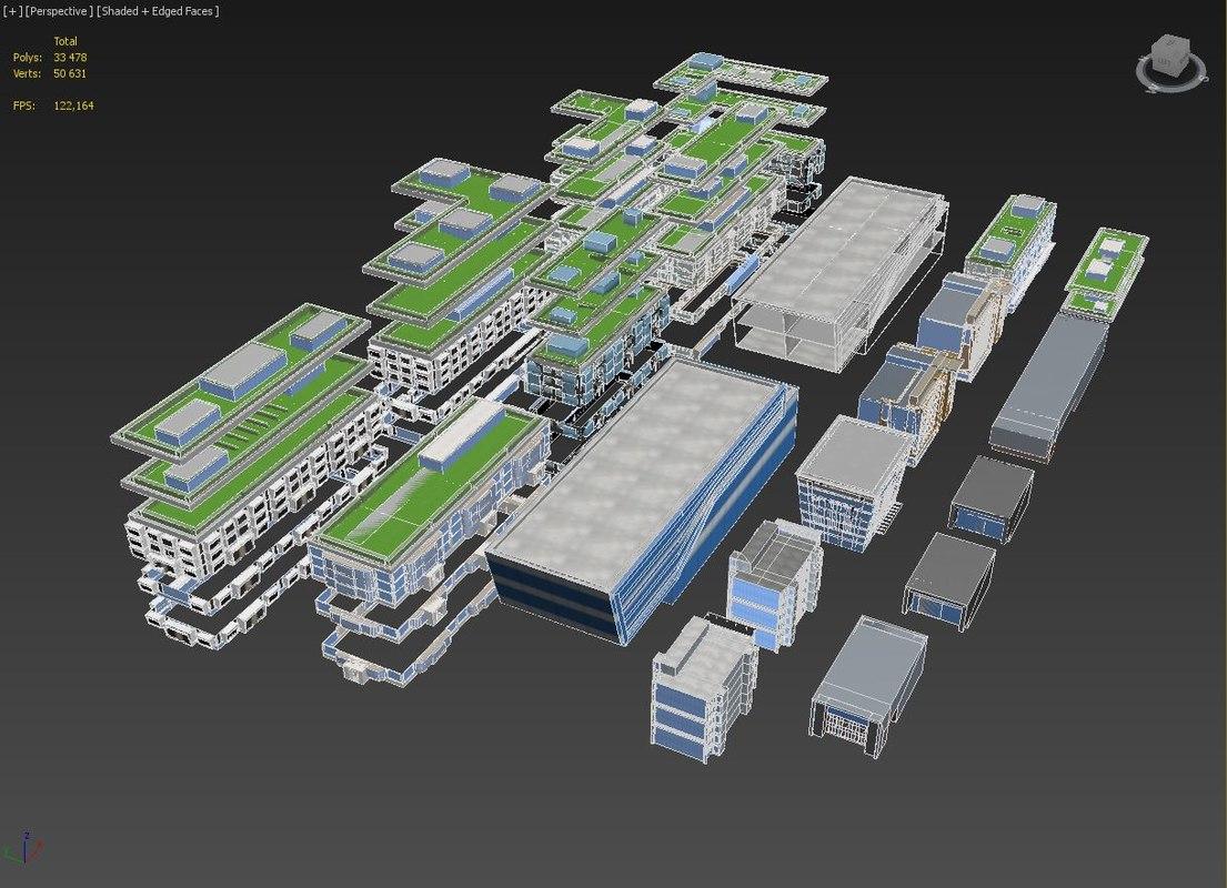 3d model of kit buildings
