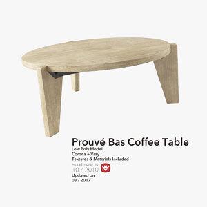 3d model prouvé gueridon bas coffee table