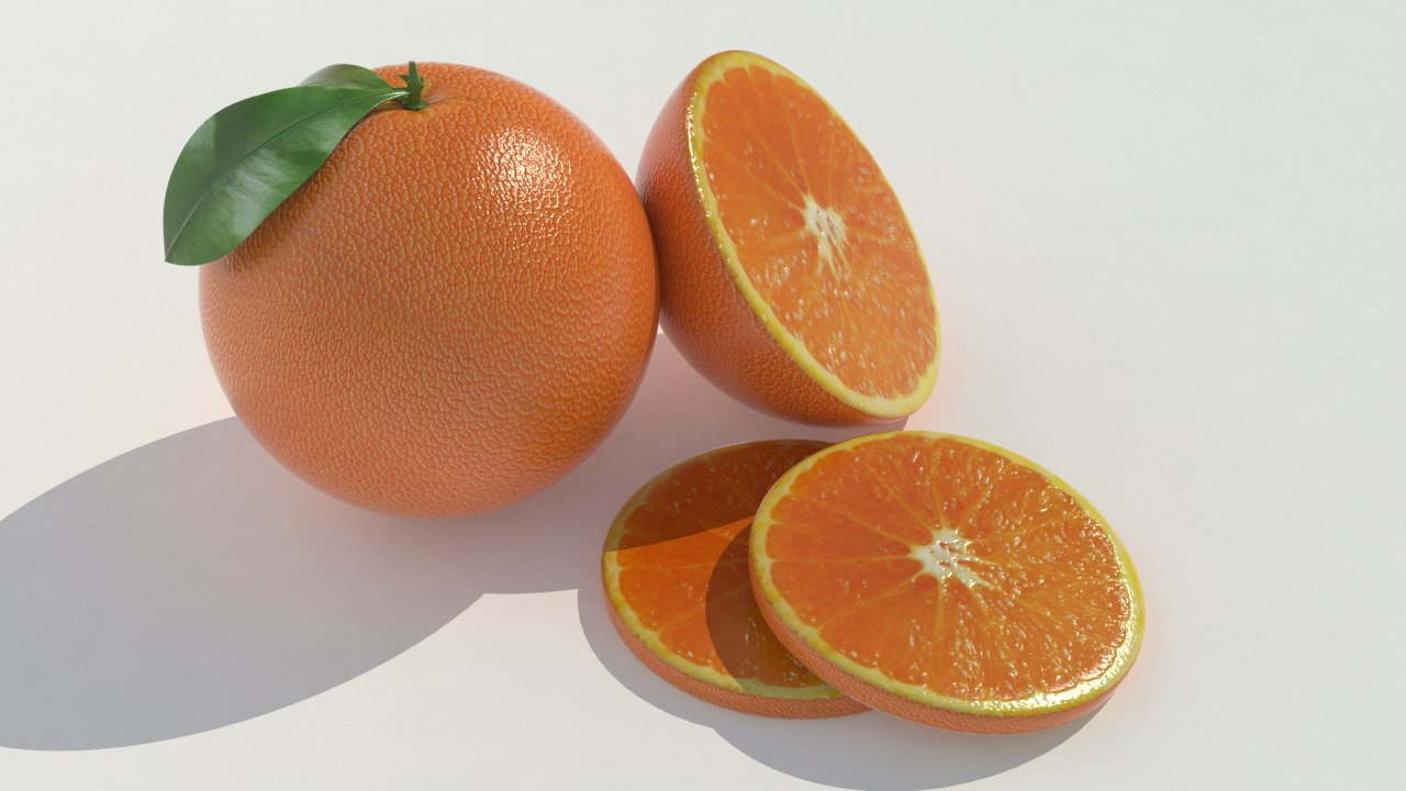 orange realistic obj
