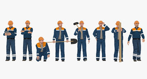 workers 3d model
