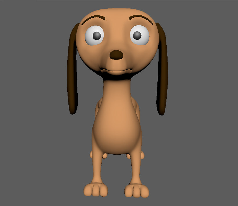 dog taksa cartoon 3d model