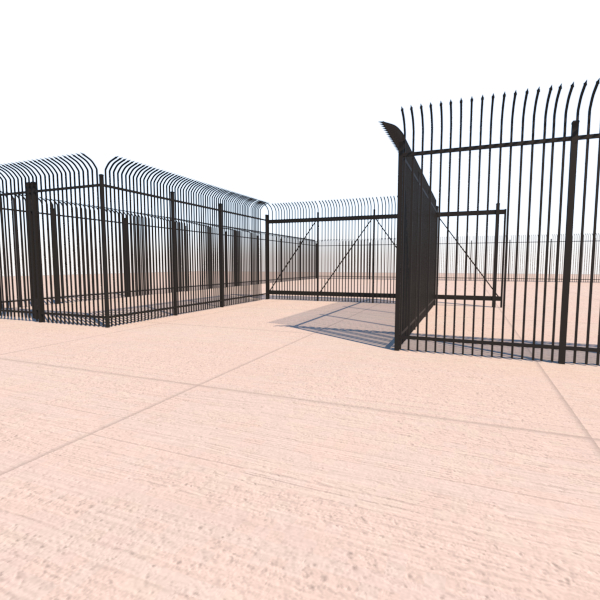3d model security fence - gate