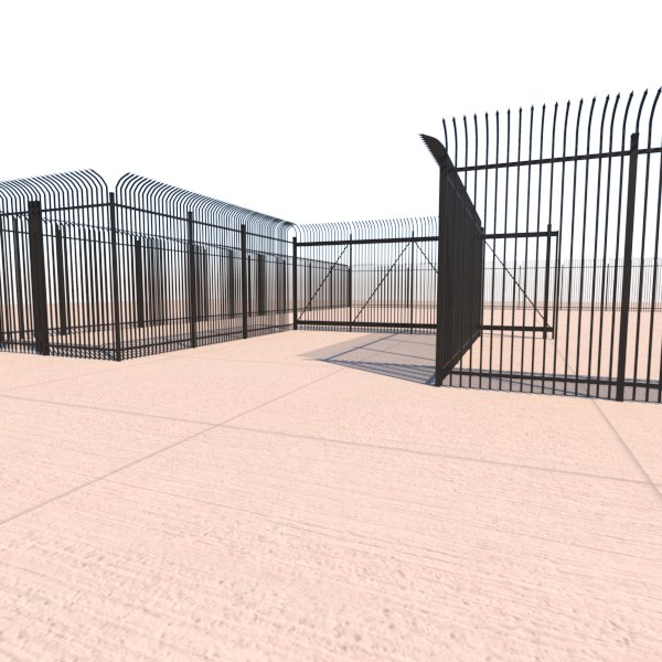 3d model security fence gate for 3d fence
