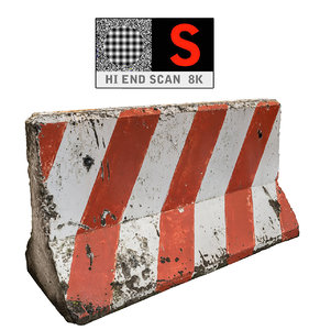 3d concrete barrier scan 8k