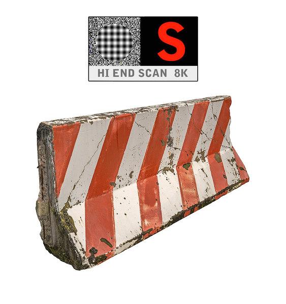 concrete barrier scan 8k 3d model