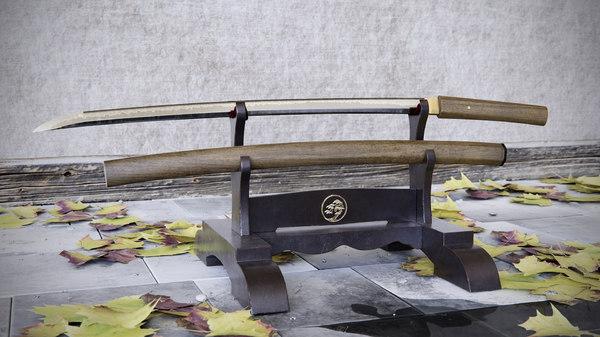 3d japanese katana shirasaya model