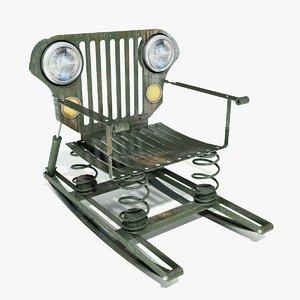 scrap metal chair 3d model