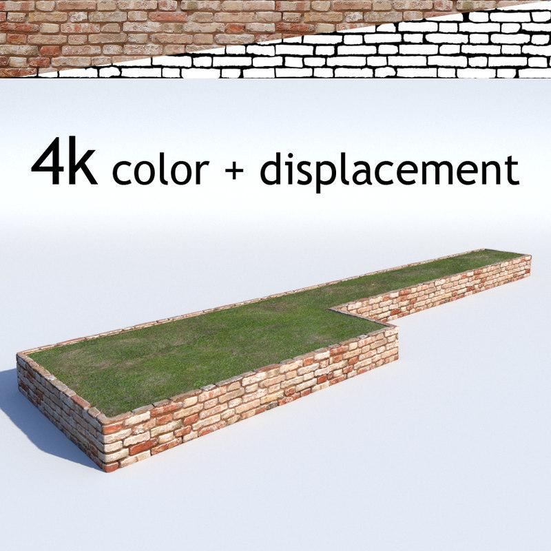 flowerwall displacement bricks 3d model