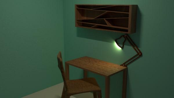 3d lamp concept study room model