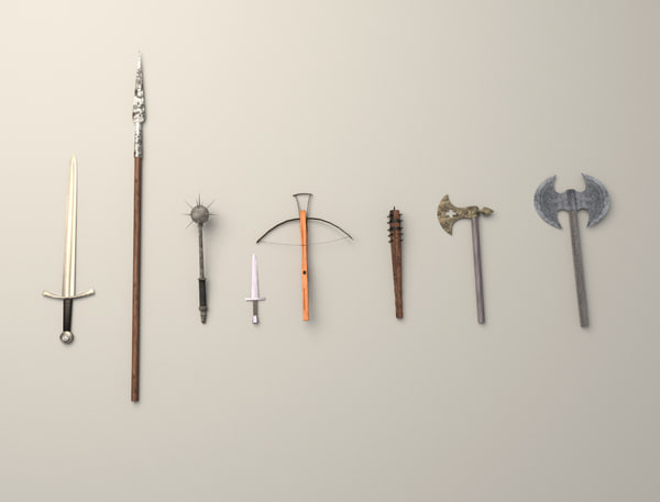 3d model pack medieval weapons