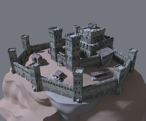 medieval castle 3d obj