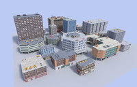 20 low poly buildings pack