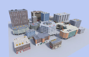 pack 20 buildings 3d model