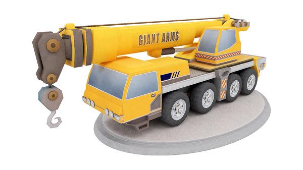 3d obj ready crane toy truck
