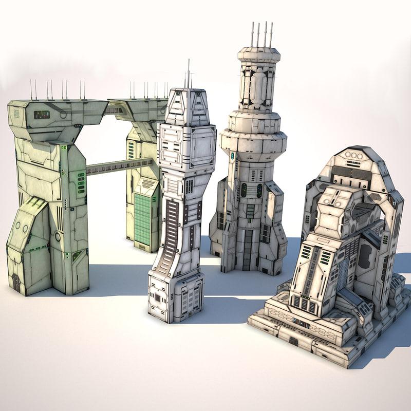 p2 futuristic buildings 3d 3ds