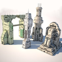 p2 futuristic buildings 3d 3ds
