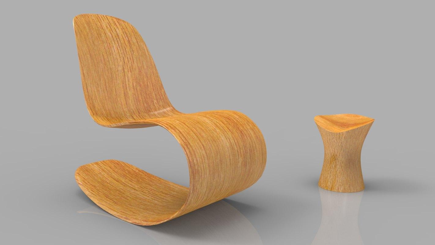 3d rocking wooden chair