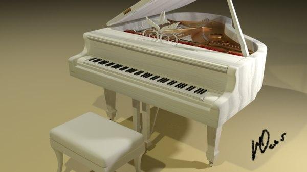 3d model white grand piano