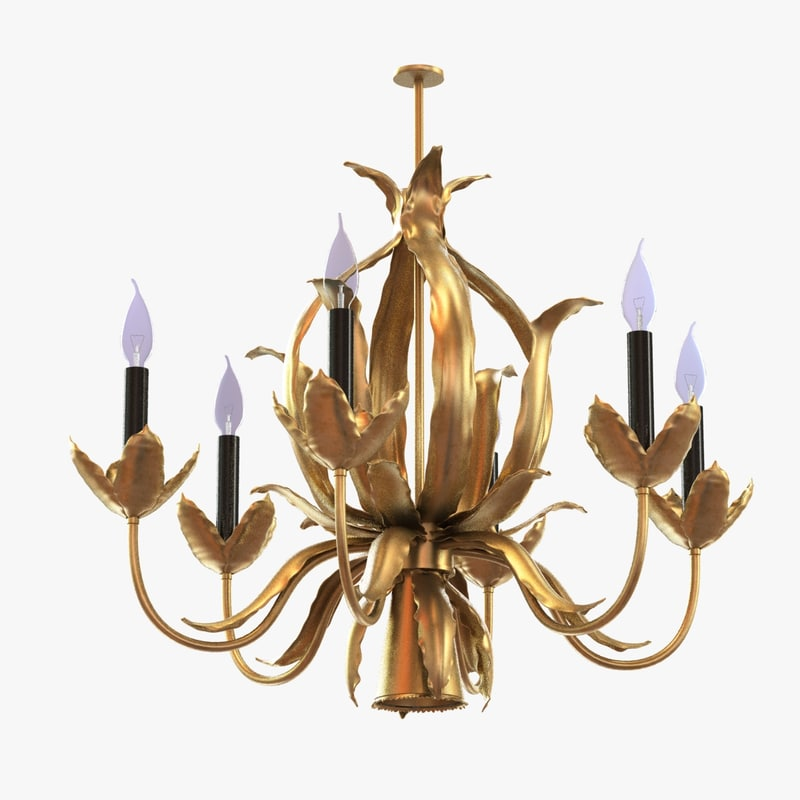 3d model chandelier mid-century brutalist brass