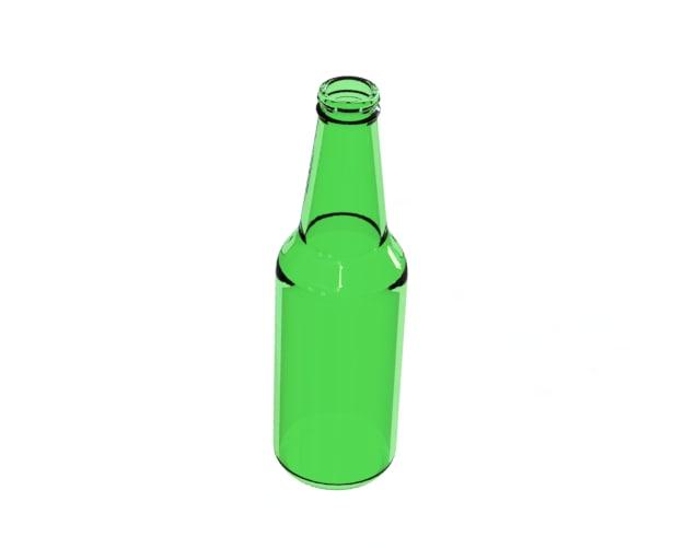 free green glass beer bottle 3d model