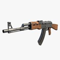 ak47 kalashnikov rifle 3d fbx