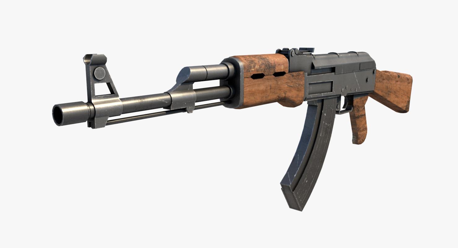 ak47 kalashnikov rifle obj