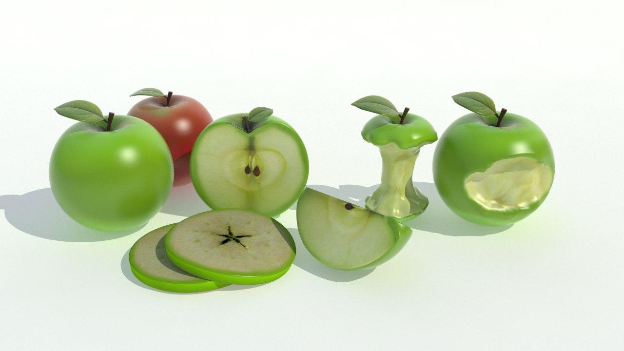 apple realistic 3d 3ds