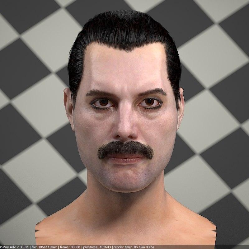 3d freddie mercury singer head male model