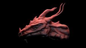 dragon head sculpted 3d obj