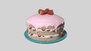 cake strawberry 3d obj