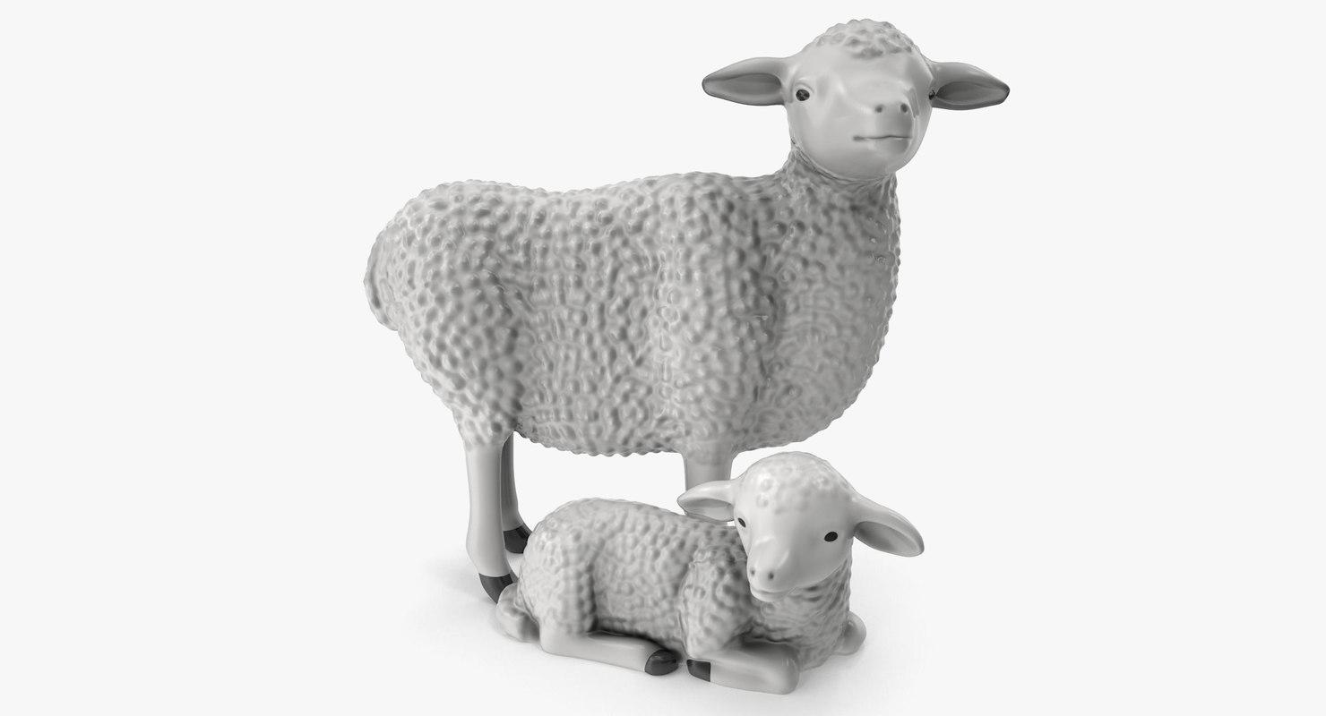 3d figurines sheep lamb