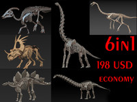 herbivorous dinosaurs skeletons 3d model